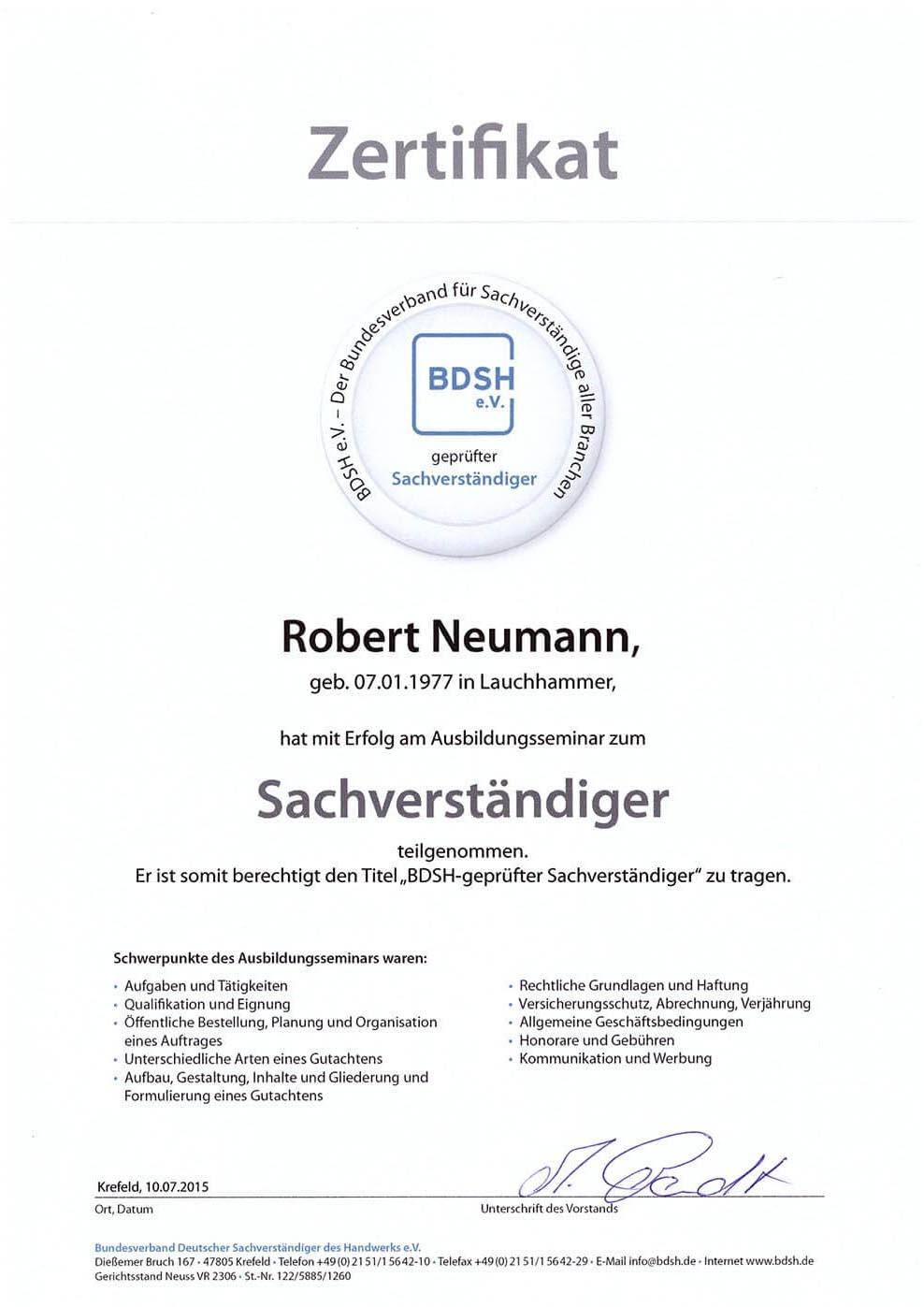 Zertifikat-BDSH